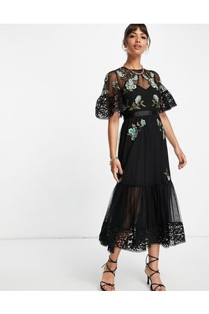 French Connection Embroidered layered midi dress in