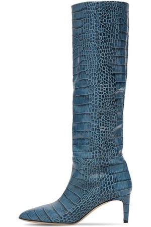 PARIS TEXAS 60mm Croc Embossed Leather Tall Boots