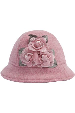 MONNALISA Wool Blend Hat W/ Flower Appliquès