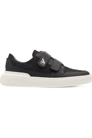 Emporio Armani Boys Sneakers - Logo Print Leather Strap Sneakers