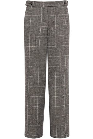 Max Mara Wool Blend Check Straight Leg Pants