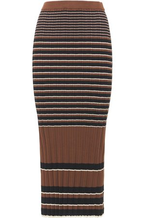 THEORY Striped Ribbed Cotton Midi Skirt
