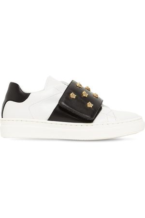 VERSACE Boys Sneakers - Embellished Studs Leather Sneakers
