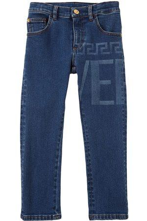 VERSACE Girls Jeans - Logo Print Cotton Jeans