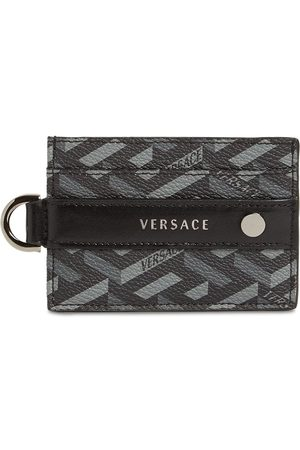 VERSACE Men Wallets - Monogram Coated Canvas Card Holder