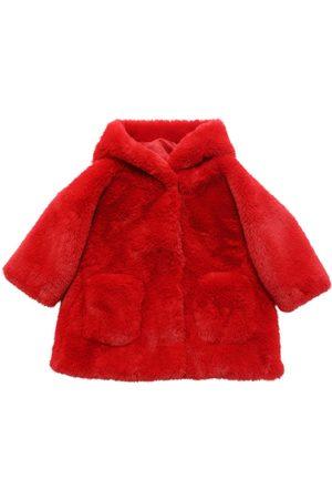 MONNALISA Girls Coats - Hooded Faux Fur Coat