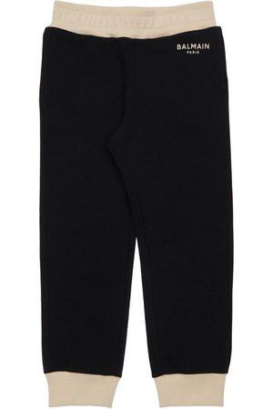 Balmain Girls Sports Trousers - Logo Print Cotton Sweatpants