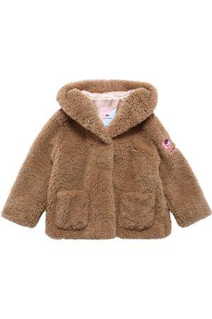 Chiara Ferragni Logo Patch Hooded Faux Fur Coat