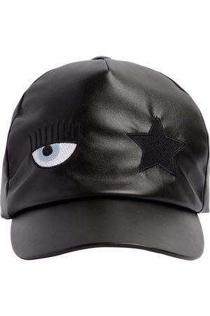 Chiara Ferragni Flirting Eye Faux Leather Baseball Hat