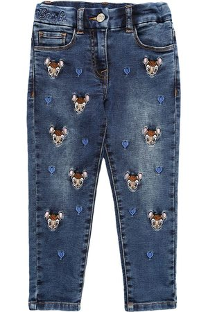 MONNALISA Girls Jeans - All Over Bambi Stretch Jeans