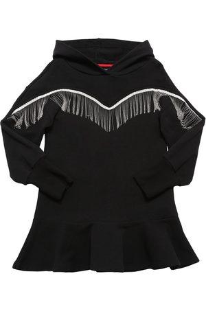 MONNALISA Cotton Blend Sweat Dress W/ Fringe