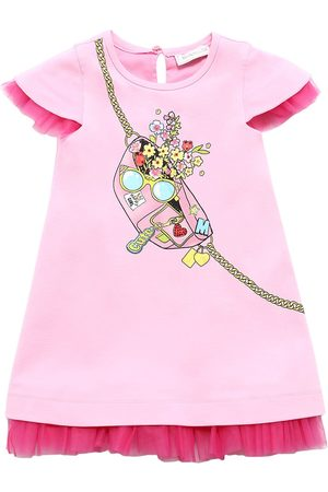 MONNALISA Girls Printed Dresses - Printed Viscose Blend Sweat Dress