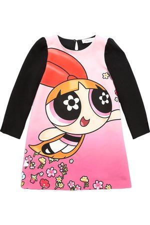 MONNALISA Girls Printed Dresses - Powerpuff Girls Print Crepe Dress