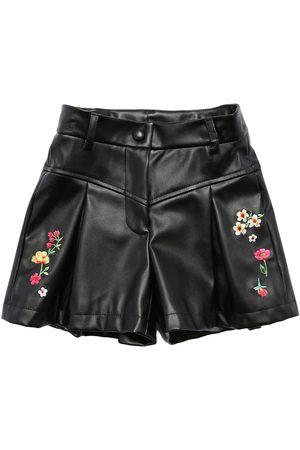 MONNALISA Girls Shorts - Embroidered Faux Leather Shorts