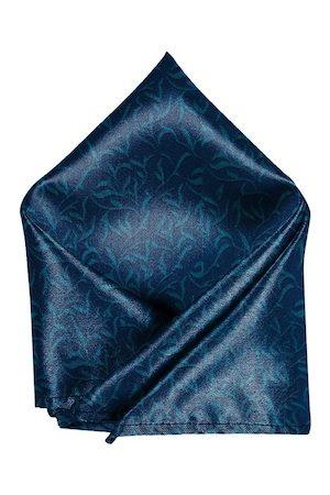 Blacksmith Men Blue Leaves Printed Pocket Square