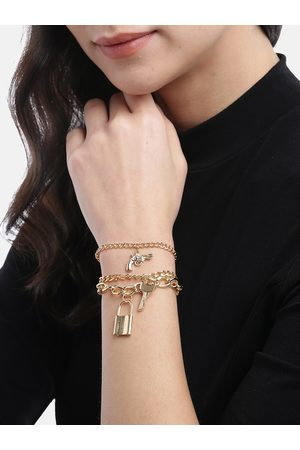 Jewels Galaxy Women Set of 3 Gold-Plated Anklets cum Bracelets