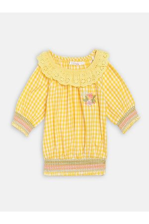 Elle Yellow Checked Puff Sleeve Blouson Top
