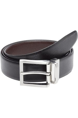 WELBAWT Men Black & Brown Textured Leather Slim Reversible Belt