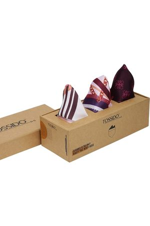 Tossido Men Pack of 3 Purple & White Printed Pocket Squares