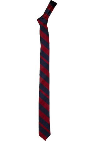 Blacksmith Men Maroon & Navy Blue Striped Skinny Tie