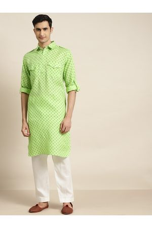 SOJANYA Men Green Ethnic Motifs Print Pathani Kurta with Pyjamas