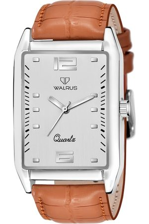 WALRUS Men Beige Brass Printed Dial & Silver Toned Straps Analogue Watch