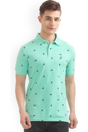 Nautica Men Green Printed Polo Collar Slim Fit T-shirt