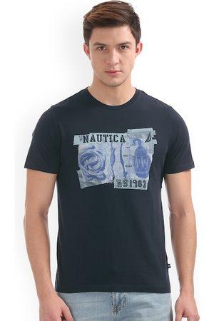 Nautica Men Navy Blue Printed Round Neck Slim Fit T-shirt