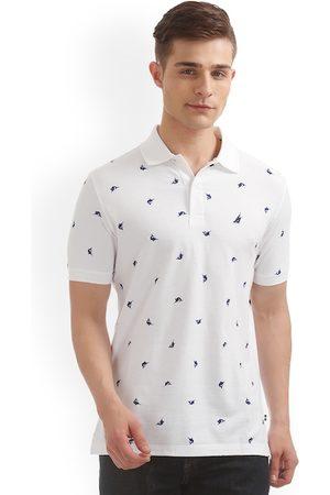 Nautica Men White Printed Polo Collar Slim Fit T-shirt