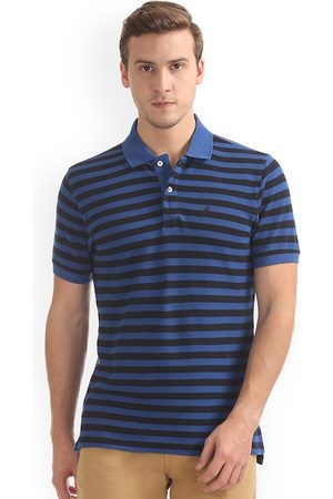 Nautica Men Blue Striped Polo Collar T-shirt