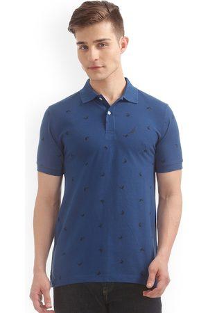 Nautica Men Blue Printed Polo Collar Slim Fit T-shirt