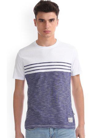 Nautica Men White & Blue Colourblocked Round Neck T-shirt