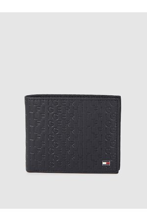 Tommy Hilfiger Men Navy Blue Typography Textured Leather Two Fold Wallet