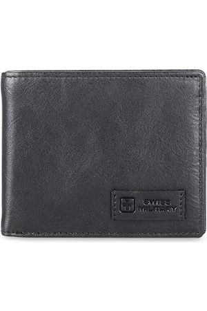 Swiss Military Men Black Solid Genuine Leather Two Fold Wallet