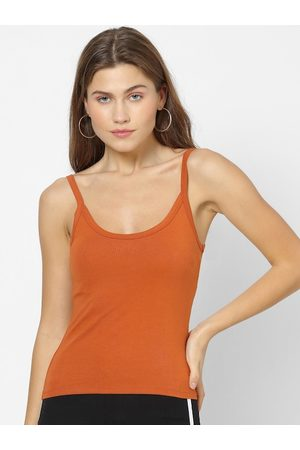 Forever 21 Women Rust Brown Solid Tank Top