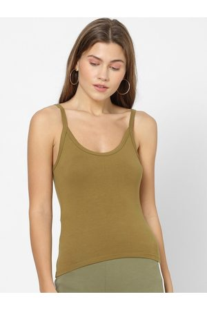 Forever 21 Women Olive Green Solid Tank Top
