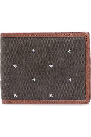Forever 21 Men Brown & White Woven Design Two Fold Wallet