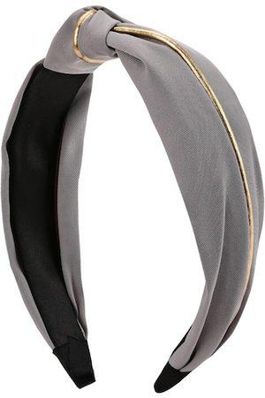 Kazo Women Grey & Gold-Toned Striped Knot Hairband