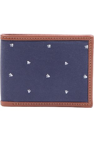 Forever 21 Men Navy Blue & Brown Printed Two Fold Wallet