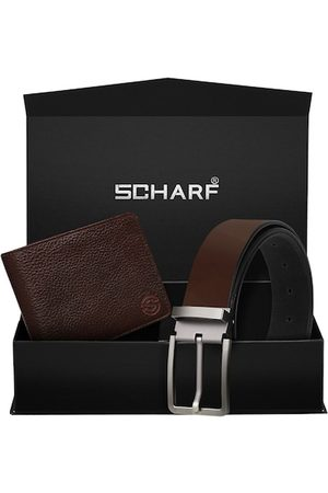Scharf Men Brown Genuine Leather Belt & Wallet Accessory Gift Set
