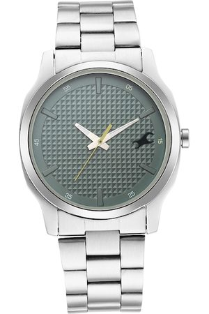 Fastrack Men Silver Toned & Grey Analogue Watch 3255SM02