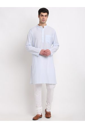 NEUDIS Men Blue Angrakha Pure Cotton Kurta with Churidar