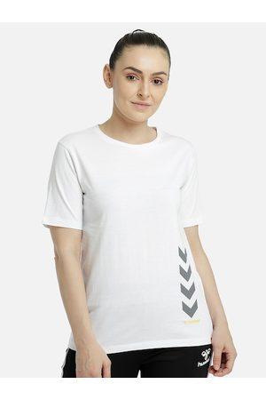Hummel Women White NA Drop-Shoulder Sleeves Raw Edge T-shirt NA
