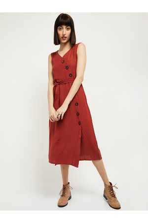 Max Collection Women Rust Orange Solid Wrap Dress