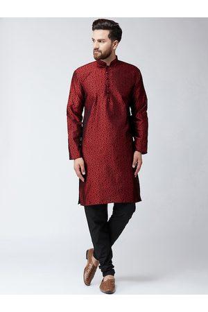 SOJANYA Men Maroon & Black Self Design Kurta with Churidar