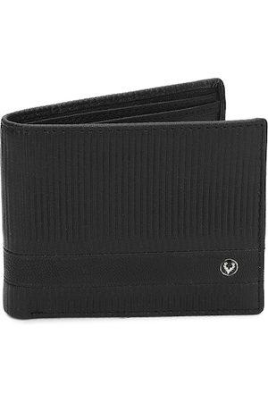Allen Solly Men Black Self Striped Leather Two Fold Wallet