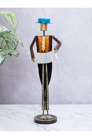 Golden Peacock Multicoloured Handcrafted Musician Man with Hat Figurine Showpiece