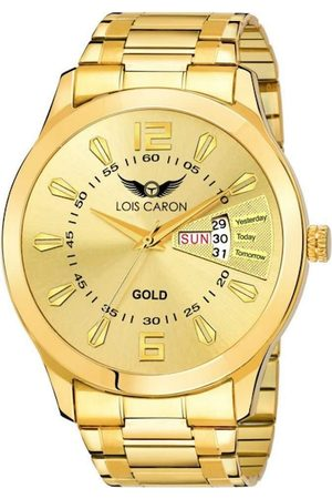 LOIS CARON Men Gold-Toned Dial Stainless Steel Bracelet Style Analogue Watch - MLC-8404