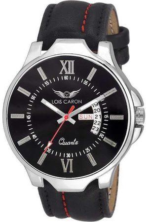 LOIS CARON Men Black Embellished Dial & Black Analogue Watch MLC-4119
