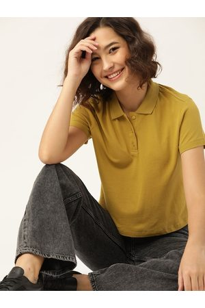 DressBerry Women Mustard Solid Pure Cotton Polo Collar T-shirt